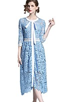 cheap -SHE IN SUN Women's Basic Street chic Swing Dress - Solid Colored Lace