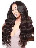 cheap -Virgin Human Hair Wig Brazilian Hair Body Wave Wavy Deep Parting Middle Part 180% Density With Baby Hair With Bleached Knots Natural