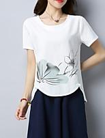 abordables -Mujer Tejido Oriental Estampado Camiseta Floral