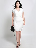cheap -Cute Ann Women's Plus Size Street chic Slim A Line Bodycon Sheath Dress - Solid Colored Ruched High Waist V Neck