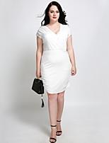 Недорогие -Жен. Большие размеры Уличный стиль Тонкие А-силуэт Облегающий силуэт Оболочка Платье - Однотонный, Рюши Завышенная V-образный вырез