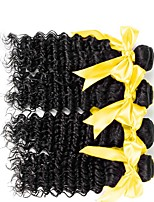 cheap -Mongolian Hair / Deep Wave Wavy Natural Color Hair Weaves / One Pack Solution / Human Hair Extensions 4 Bundles 8-28 inch Human Hair Weaves Machine Made Newborn / Classic / Sexy Lady Natural Black