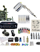 cheap -Tattoo Machine Starter Kit 1 rotary machine liner & shader 1 carved machine liner & shader Variable Speeds Adjustable LCD power supply 1