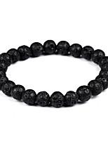 abordables -Homme Femme Pierre volcanique Bohème Bracelet Bracelets de rive - Bohème Mode Gothique Forme de Cercle Noir Bracelet Pour Cadeau Soirée