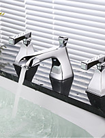 cheap -Bathroom Sink Faucet - Widespread Chrome Widespread Two Handles Three Holes