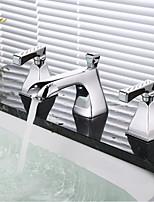 abordables -Robinet lavabo - Séparé Chrome Diffusion large Deux poignées trois trous