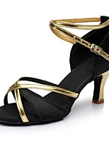 cheap -Women's Latin Shoes Satin / Leatherette Sandal / Heel Party / Indoor Splicing Customized Heel Customizable Dance Shoes Black