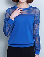 preiswerte -Damen Solide-Grundlegend Street Schick Bluse Spitze