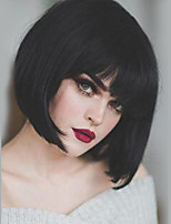 cheap -Human Hair Capless Wigs Human Hair Straight Bob Haircut Natural Hairline Nature Black Machine Made Wig Women's