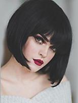 Недорогие -Человеческие волосы без парики Натуральные волосы Прямой Стрижка боб Природные волосы Природа Черный Машинное плетение Парик Жен.