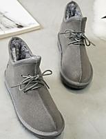 abordables -Femme Chaussures Cuir Nubuck Hiver Bottes de neige Bottes Talon Plat Bottine / Demi Botte pour Noir Gris Kaki