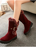 cheap -Women's Shoes Nubuck leather Winter Comfort Boots Platform for Black Red Camel