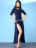 baratos -Dança do Ventre Vestidos Mulheres Treino Fibra Sintética Com Fenda Meia Manga Alto Vestido