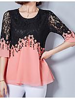 cheap -Women's Basic Blouse - Solid Colored Color Block, Lace