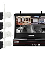 abordables -yanse 4ch 1280 * 720 h.264 wireless nvr kit 4pcs a prueba de agua ir ip camera sistema de seguridad