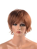 cheap -Synthetic Wig Straight Layered Haircut Natural Hairline Light Brown Men's Capless Celebrity Wig Natural Wigs Short Synthetic Hair Party