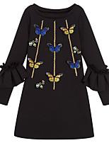 Недорогие -Девичий Платье Повседневные Полиэстер Геометрический принт Осень Длинный рукав Классический Черный