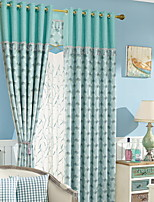cheap -Sheer Curtains Shades Living Room Floral Cotton / Polyester Pigment Print
