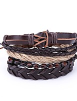 cheap -Men's Leather 4pcs Wrap Bracelet - Vintage Irregular Brown Bracelet For Daily Bar