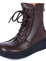 cheap -Women's Shoes Cowhide Nappa Leather Fall Winter Combat Boots Boots Wedge Heel Mid-Calf Boots for Coffee