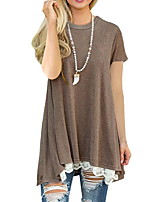 cheap -Women's Basic T-shirt - Solid Colored Lace