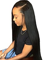 cheap -Unprocessed Wig Brazilian Hair Straight Layered Haircut 150% Density With Baby Hair Natural Hairline Black Short Long Mid Length Women's