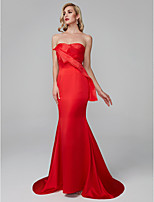 cheap -Mermaid / Trumpet Sweetheart Sweep / Brush Train Satin Chiffon Prom / Formal Evening Dress with Draping by TS Couture®