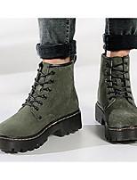 baratos -Mulheres Sapatos Couro de Porco Outono Inverno Coturnos Botas Salto Robusto Botas Curtas / Ankle para Preto Amarelo Verde Tropa
