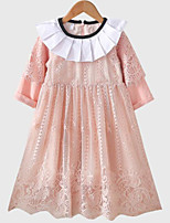 cheap -Girl's Daily Solid Colored Dress, Polyester Spring Long Sleeves Basic White Blushing Pink