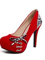 abordables -Mujer Zapatos Cuero Nobuck Primavera / Otoño Confort Tacones Tacón Stiletto Dedo redondo Pajarita Negro / Rojo / Fiesta y Noche