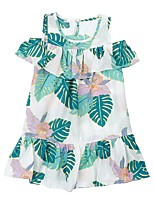 cheap -Girl's Daily Floral Print Dress, Cotton Spring Summer Sleeveless Cute Green