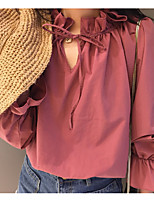 cheap -Women's Basic Blouse-Solid Colored