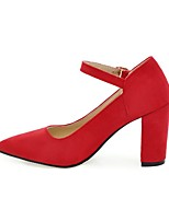 cheap -Women's Shoes Nubuck leather Spring / Fall Comfort Heels Chunky Heel Pointed Toe Buckle Gray / Red / Pink / Party & Evening