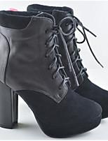 baratos -Mulheres Sapatos Pele Inverno Botas da Moda Botas Salto Robusto Botas Curtas / Ankle para Preto