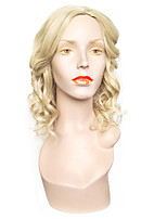 cheap -Synthetic Wig Wavy Side Part Asymmetrical Haircut Layered Haircut Natural Hairline Blonde Women's Capless Celebrity Wig Natural Wigs