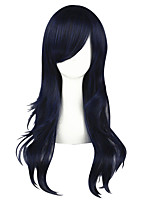 cheap -Synthetic Wig Straight Layered Haircut Natural Hairline Blue Women's Capless Cosplay Wig Mid Length Synthetic Hair Christmas