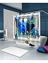 cheap -Shower Curtains & Hooks Contemporary Modern Polyester Contemporary Animal Machine Made Waterproof Bathroom