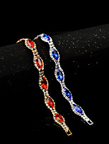 cheap -Women's Cubic Zirconia Synthetic Ruby Synthetic Sapphire Rhinestone Zircon 1pc Chain Bracelet - Classic Vintage Elegant Circle Red Blue