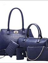 cheap -Women's Bags PU Bag Set 5 Pieces Purse Set Zipper Blue / Black / Red