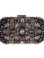 Недорогие -Жен. Мешки Терилен Вечерняя сумочка Аппликации / Кристаллы для Для праздника / вечеринки Черный