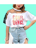 cheap -Women's Cute Cotton T-shirt - Solid Colored Letter Mesh Patchwork