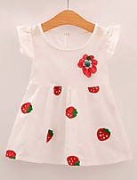 cheap -Girl's Daily Geometric Dress, Polyester Spring Summer Short Sleeves Cute White