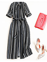 cheap -Women's Vintage Street chic A Line T Shirt Dress - Striped Lace up
