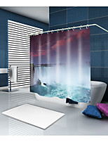cheap -Shower Curtains & Hooks Modern Mediterranean Polyester Novelty Machine Made Waterproof Bathroom