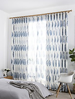 cheap -Curtains Drapes Living Room Solid Colored Geometric Cotton / Polyester Printed