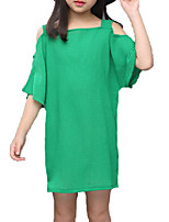 cheap -Girl's Daily Holiday Solid Colored Dress, Cotton Polyester Summer Short Sleeves Cute Active Green