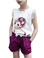 cheap -Girls' Daily Print Clothing Set, Cotton Spring Fall Short Sleeves Cute Blushing Pink Purple