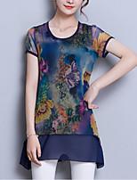 Недорогие -Жен. С принтом Пэчворк Блуза Классический Уличный стиль Цветочный принт