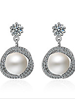 cheap -Women's Pearl Zircon S925 Sterling Silver Hoop Earrings - Fashion Sweet Geometric For Wedding Daily