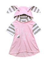 cheap -Girl's Daily Holiday Solid Colored Striped Print Dress, Cotton Spring Summer Short Sleeves Cute Active Blushing Pink